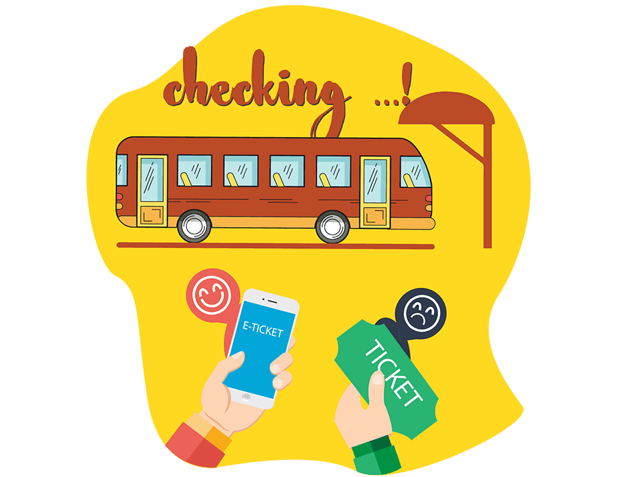 Bookmebus landing page eticket vector
